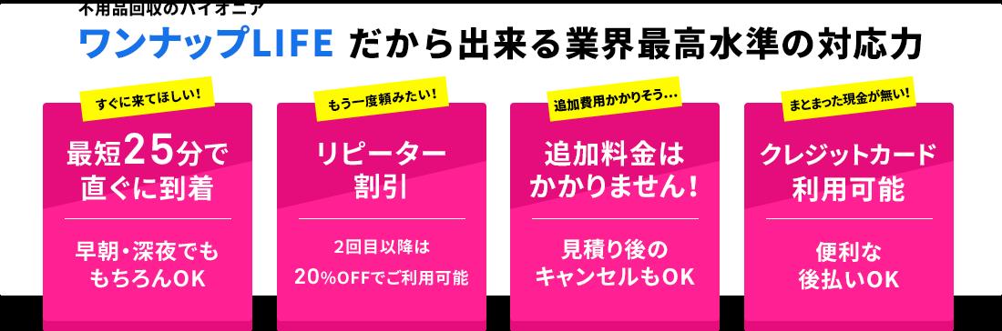 昭島市No.1の不用品回収ワンナップLIFEだからできる最高水準の対応力!今すぐに来てほしい!もう一度頼みたい!追加費用掛かりそう...。まとまった現金がない!にお応えします。