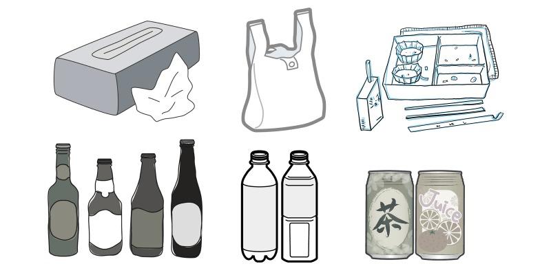 可燃・不燃ゴミやペットボトルが中心
