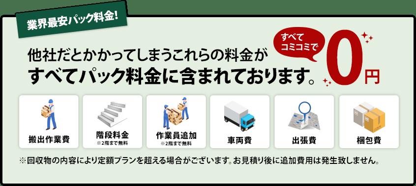 福生市の遺品整理業界最安パック料金|すべてコミコミ